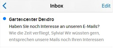 Betreffzeile einer Reaktivierungs-E-Mail in einem Posteingang.