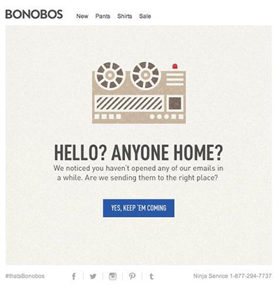Screenshot einer Reaktivierungs-E-Mail von Bonobos.