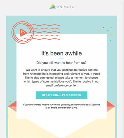 Screenshot einer Reaktivierungs-E-Mail von Animoto.