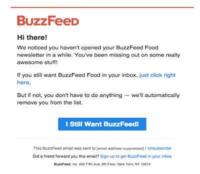 Screenshot einer Reaktivierungs-E-Mail von Buzzfeed.
