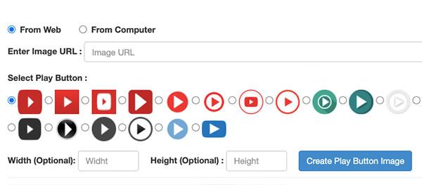 Screenshot verschiedener Wiedergabeschaltflächen einer Online-Anwendung, mit denen man Videos in E-Mails einbetten kann.