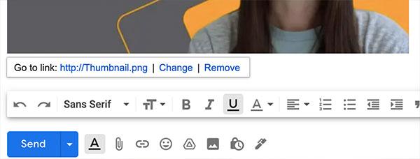 Das Verlinkungsmenü für inline eingebettete Bilder in Gmail, dass man braucht, wenn man Videos in E-Mails einbetten will.