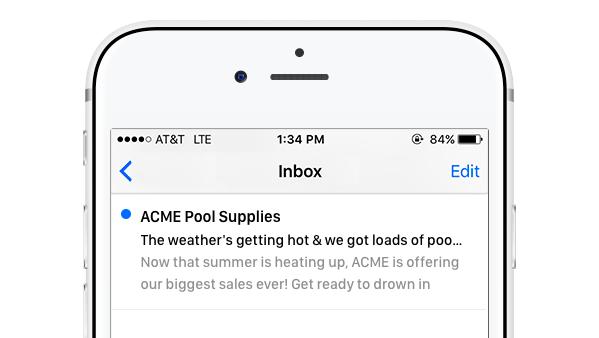 Voransicht einer E-Mail auf dem iPhone, die eine Betreffzeile an einem sehr ungünstigen Punkt abschneidet.
