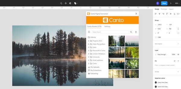 A screenshot shows the Canto connector with Figma in action.
