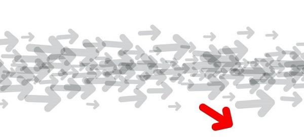 Graue Pfeile, die in eine Richtung verlaufen, und ein roter Pfeil, der vom Kurs abweicht, symbolisch dafür, dass man eine Datei von JPG in INDD konvertieren kann.