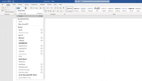 Ein Dropdown-Menü, das man in Microsoft Word benutzen kann.