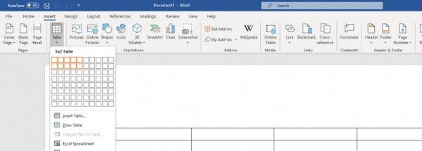 Der Bereich 'Tabelle' in Microsoft Word.